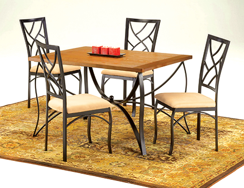 Intricate metal/wood Dinette Set