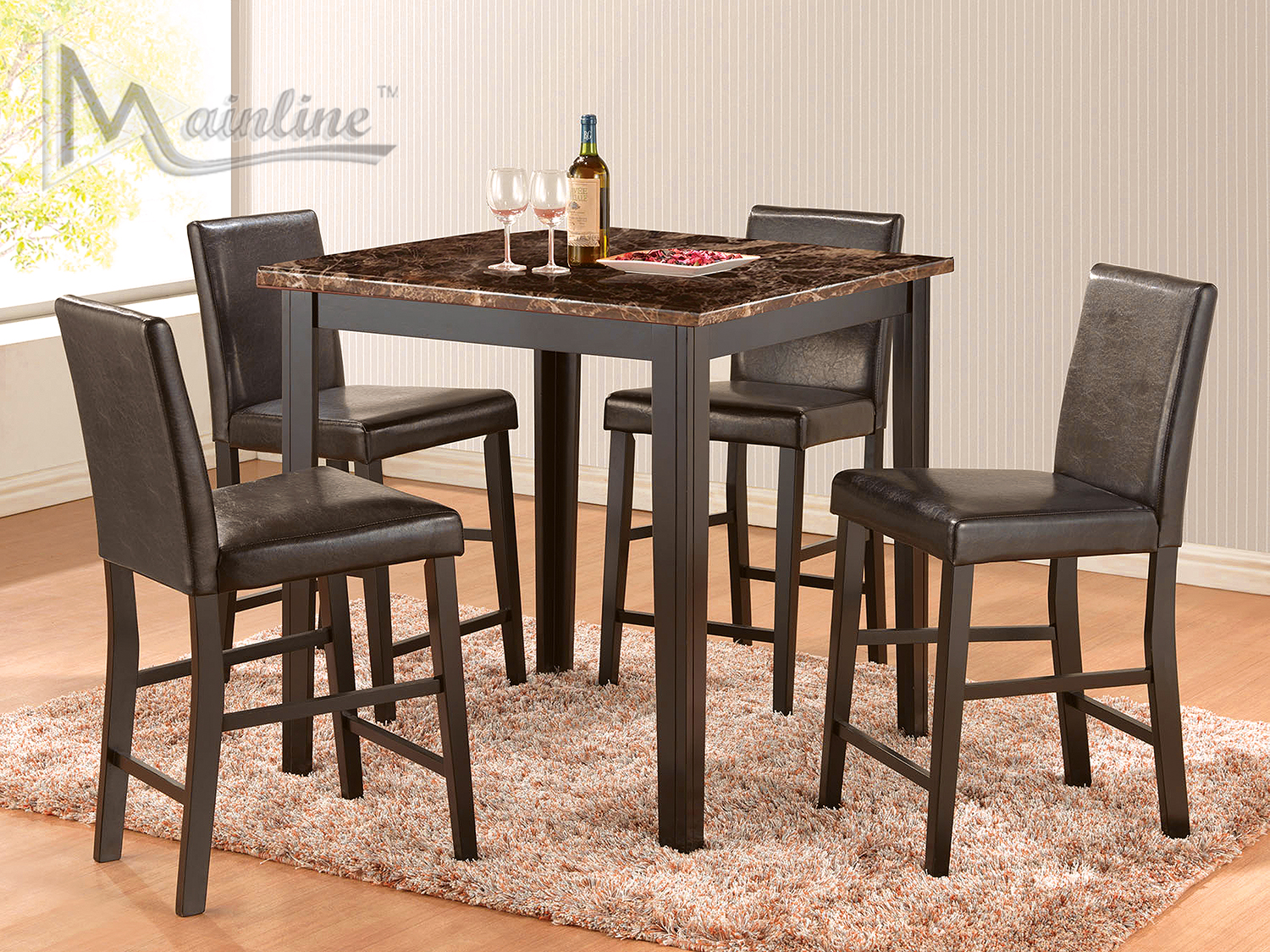 Dinette Set - Hightop with Modern Leather Chairs