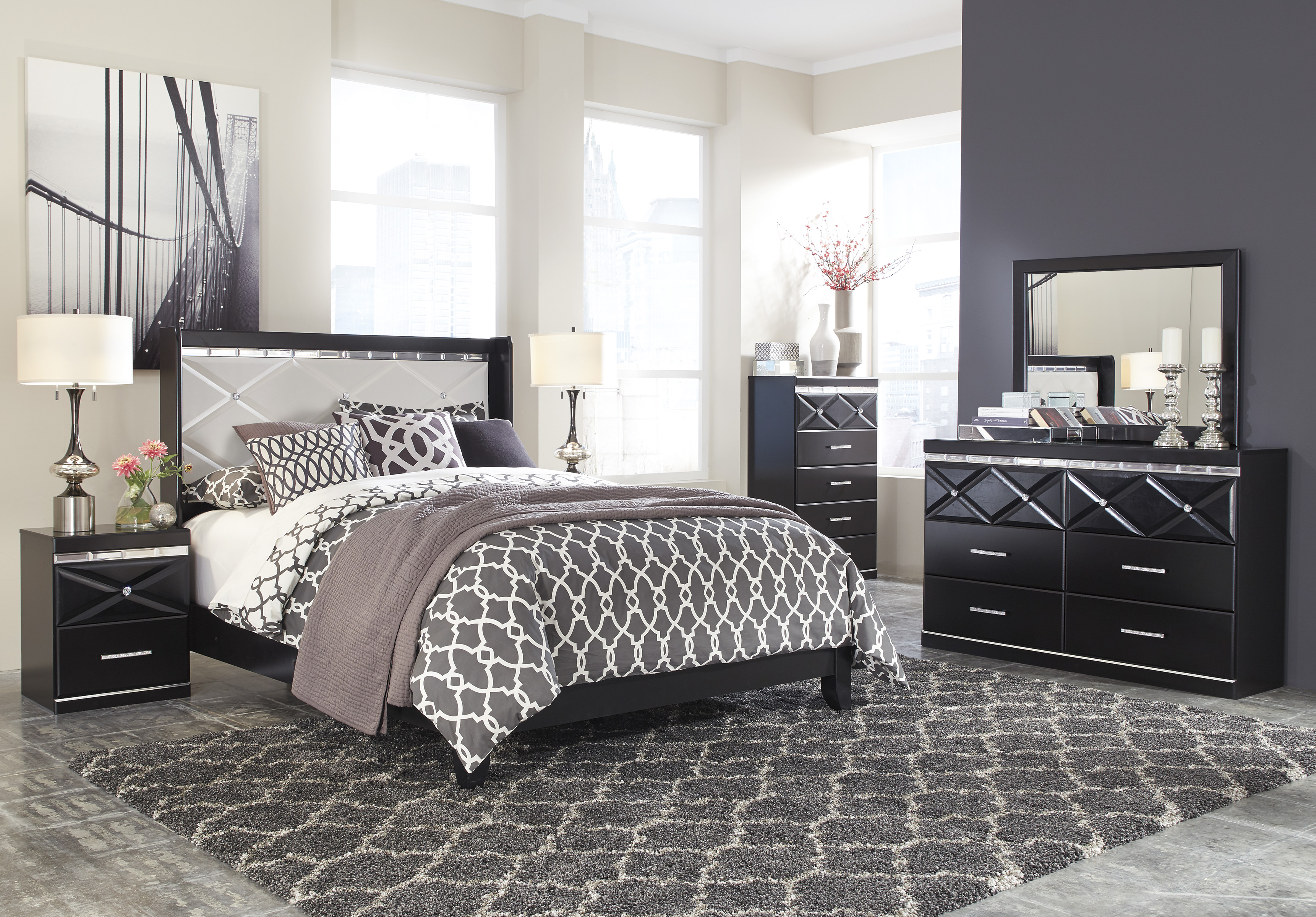 Cross Pattern Modern Bedroom Furniture